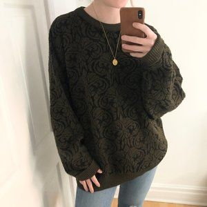 Vintage Oversized Grandpa Knit Crew Neck Sweater